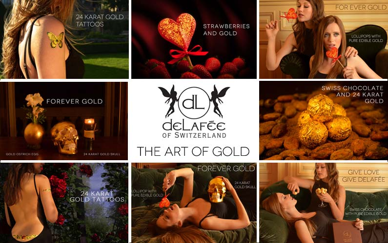 Gold luxury gifts, gold design  |  DeLaf�e
