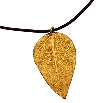 Golden Willow Leaf Pendant