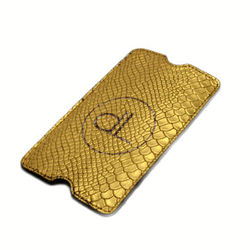24k hand gilded genuine leather smartphone sleeve