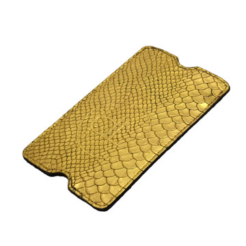 24k logo and hand gilded genuine leather smartphone sleeve