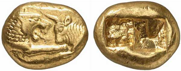 gold coins minted under Croesus