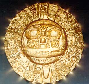 incas golden disc representing the sun