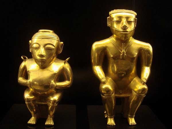 incas element of nature statue in pure gold