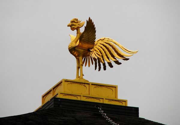sculpture of Fenghuang, the Chinese phoenix in gold