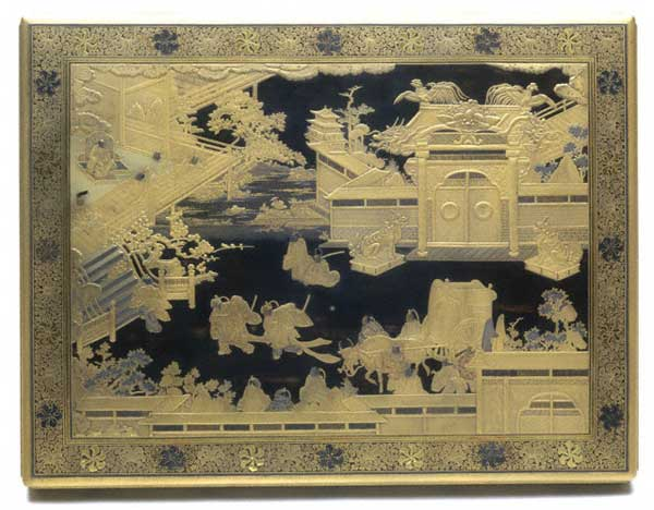 Cover of the Mazarin chest depicting the Tale of Genji