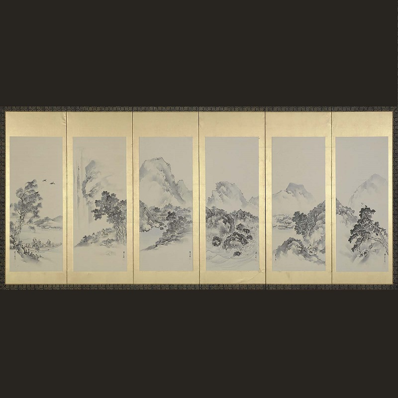 Kishi Renzan, 19th century Six-panel folding screen; ink and light color on gold-leafed paper