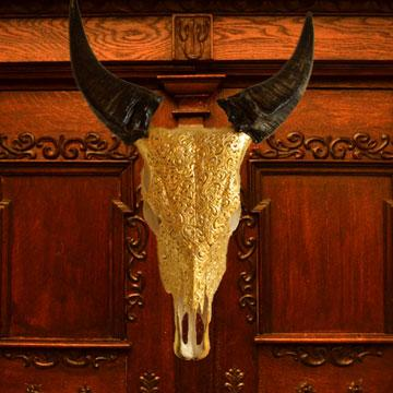 CARVED BUFFALO SKULL WITH 24K GOLD