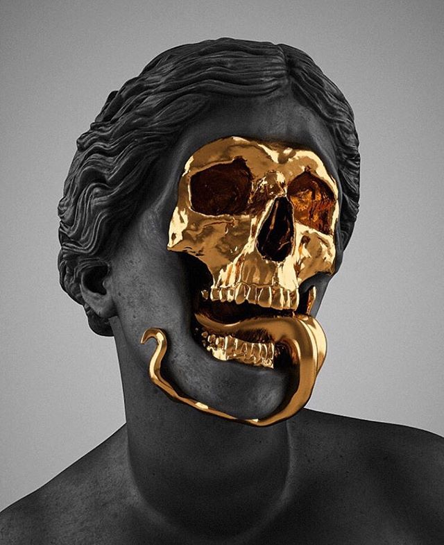 The God of the Grove is a gold plated brass statue by Hedi Xandt, a multi-disciplinary artist based in Germany.