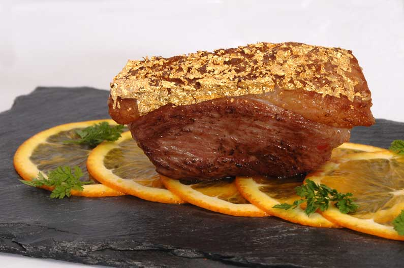 "Duck ""à l'Orange"" with edible gold crust"