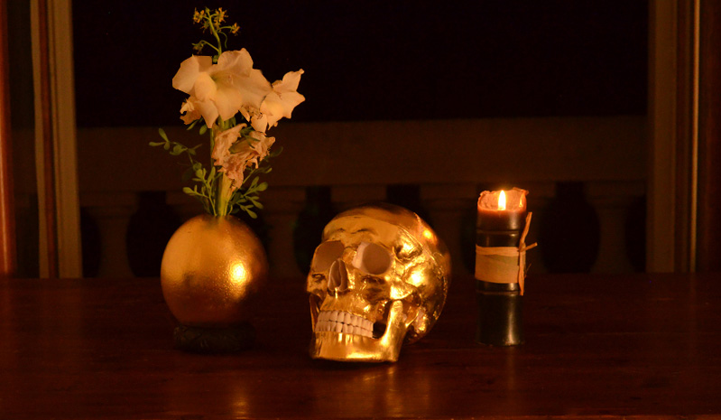 gold skull and egg