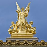 "This is the ""Poésie"" statue from Charles Gumery, a 19th century french sculptor. It's situated on the top of the famous opéra Garnier in Paris. It's make of bronze and covered in gold sheets."