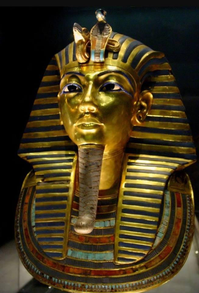 The funerary mask of the pharaoh Tutankhamun discovered in 1925 is made of 24k gold.