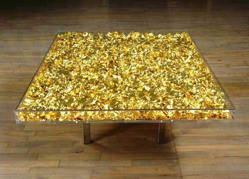 Gold table by Yves Klein