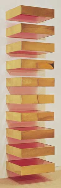 Art by Donald Judd using gold